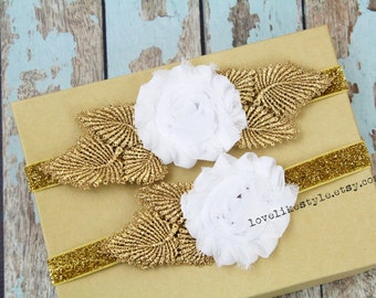 White Shabby Chic Flower with Gold Leaves Garter Set,Toss Garter , Keepsake Garter / GT-25