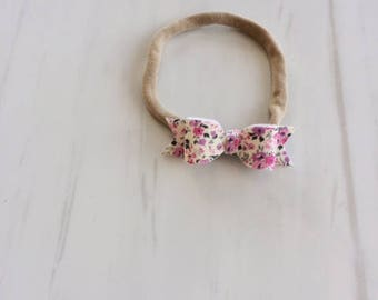 Sevenberry small garden pink and purple - Robert Kaufman - Headband or hairclip - Valentines hair bow