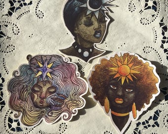 Greek Goddess Stickers (Eos, Helios, Selene)