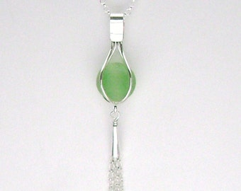Sea Glass Jewelry - Sterling Caged Green Sea Glass Marble Pendant