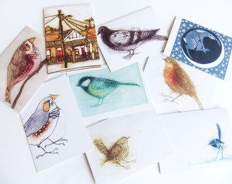Set Of Four Cards, Bird Cards By Bridget Farmer