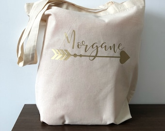 Tote bag first name and heart arrow
