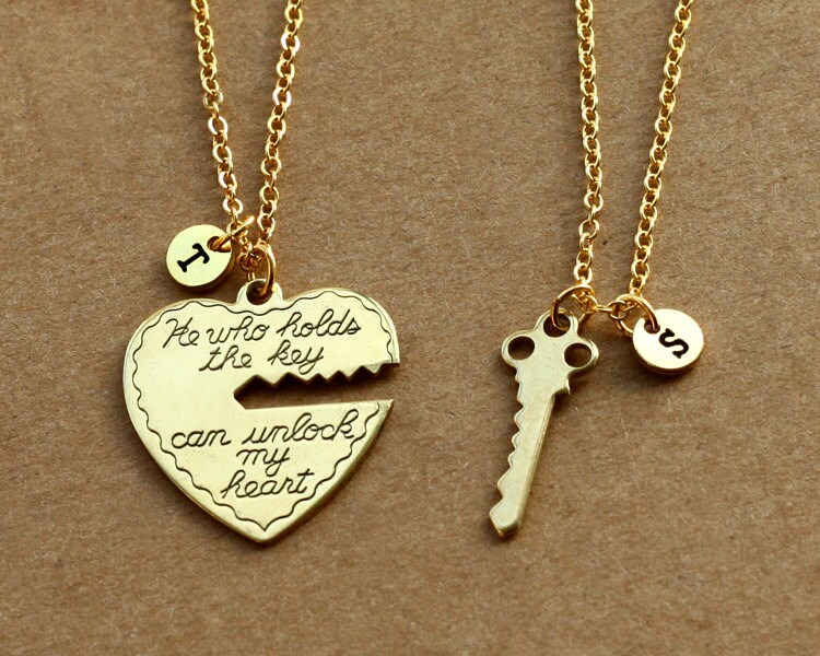 He who holds the key gold necklace heart key necklace his