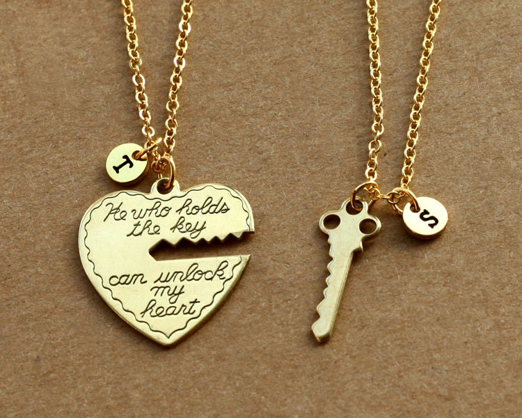 He who holds the key gold necklace heart key necklace his zoom aloadofball Image collections