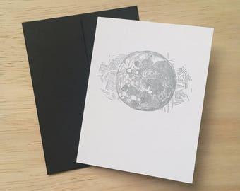 Silver Moon Cards (set of 3, letterpress)