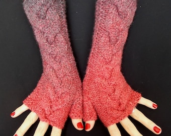 Christmas Gift for Her Fingerless Gloves  Arm Warmers Knit Cabled Red and Grey Warm and Soft