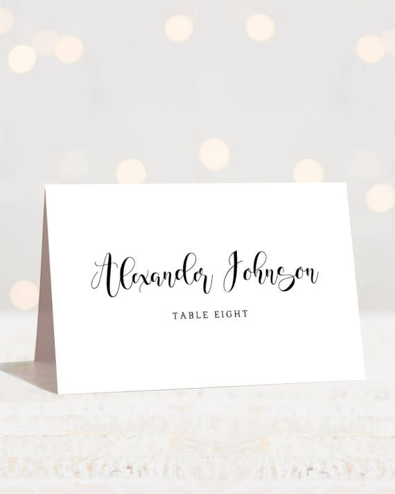 Calligraphy Wedding Place Cards Template Modern Wedding Name