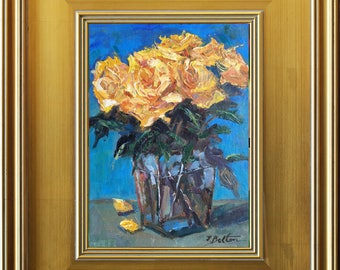 Yellow Roses in Vase, Yellow Rose Bouquet, Modern Still Life Painting, Oil Painting, Original Painting, Small  Painting, Frame Impressionist