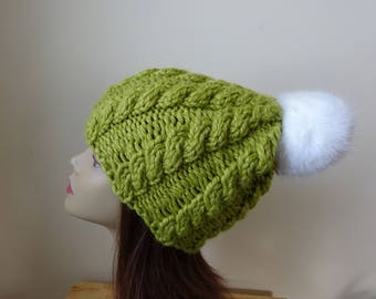 Cable Knit Hat Faux Fur Pompom Women Winter Hat Chunky Knit Hat Leaf Green Hat White Pompom Acrylic Hat - Ready to Ship - Gift for Her