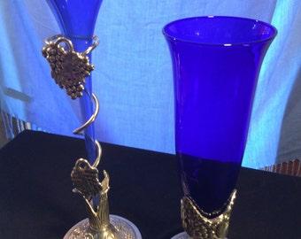 Colbalt Blue Stem Vases