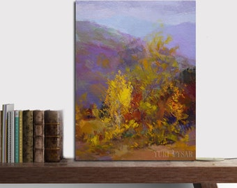 Small landscape painting, yellow and lilac canvas art autumn in mountains, impressionist painting trees oil painting fall forest painting