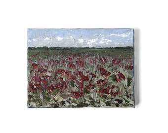 Red Poppy Painting, Acrylic Canvas, Tiny Painting, Abstract Landscape, Wanderlust Art, Meadow Painting, Flower Field Art, Original Acrylics