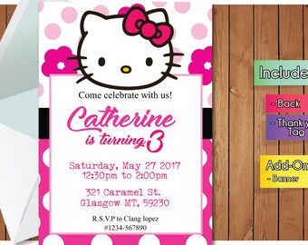 Hello kitty invites Etsy