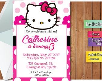 Hello kitty invites etsy hello kitty invitation with freeee thank you card hello kitty party invitation birthday banner stopboris Images