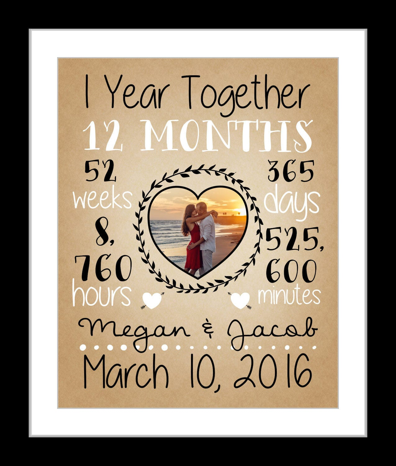 First Year Wedding Anniversary Gift Ideas: First Anniversary Gift Together 1 Year Anniversary Gift For