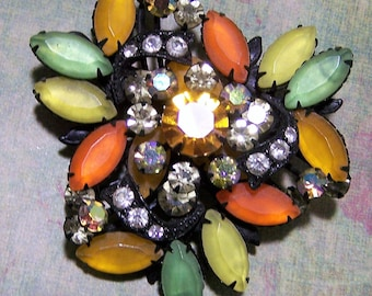 Green Orange Yellow Rhinestone Pin, Satin Finish Glass Stones, Black Japanned Setting, Mid Century Brooch 1017