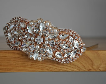 Rose Gold Headband, Bridal headband , Wedding headband, Bridal Headpiece, Pearl Wedding Headband