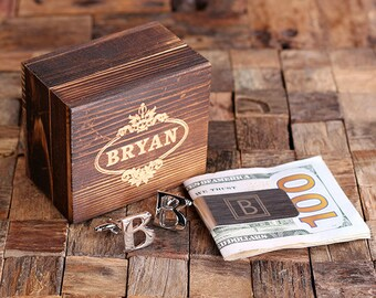 """Initial """" B """" Personalized Men's Classic Cuff Link & Money Clip with Wood Box Monogrammed Engraved Groomsmen, Best Man, Father's Day Gift"""