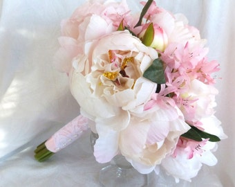 Blush pink peony bridal bouquet and boutonniere set