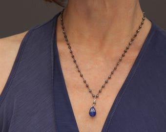 Grade AAA Lapis necklace on Pyrite chain