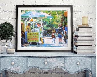 """New York Art NYC Painting Large 12x16 Fine Art Print, """"Central Park Vendor"""" New York City  yellow green Cityscape Painting by Gwen Meyerson"""