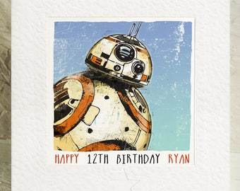 BB8 Star Wars Birthday Card Personalised  Storm Trooper The Force Awakens Rey The Last Jedi Any Name Any Age