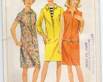 Top Stitched Dress With Faced Yoke Forward Shoulder Collar And Front Zipper Size 12 Used Vintage Sewing Pattern 1966 Simplicity 6864