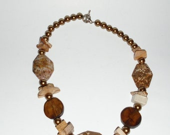 Handcrafted Artisan Necklace, Asymmetrical Necklace, Bohemian Necklace, Polished Agate Jasper and Wood Necklace, Earth Tones Necklace
