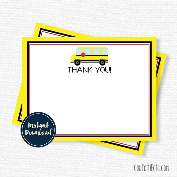 school bus thank you cards yellow bus thank you bus. Black Bedroom Furniture Sets. Home Design Ideas