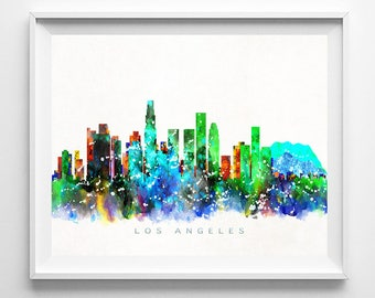 Los Angeles Skyline Print, California Print, California Poster, CA Cityscape, City Poster, Wall Art, Decor, Room Decor, Fathers Day Gift