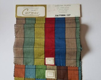Vintage Fabric Samples, 1966, Cheetah Plaids by Carnac