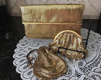 THREE Whiting and Davis Co. Gold Mesh Evening Bags Circa 1920s