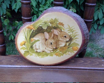 Vintage Wooden Decopauge Bunny Plauqe-Nursery Child's Room Decor Wall Hanging