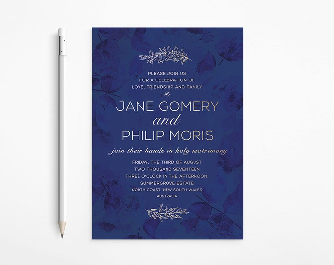 PRINTABLE - Gold and Blue Evening Wedding Invitation - Botanicals - Floral - Flowers - Wreath - Navy Blue - Deep Blue - Night - Romantic