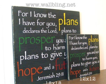 Large (18x18in.)  Jeremiah 29:11 For I Know the Plans I Have for You - Wood Sign (Black)