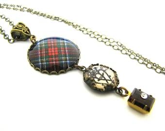 Scottish Tartan Jewelry Tartan Necklace Stewart Black Tartan Necklace w/Luckenbooth Charm & Rhinestone Szech Glass Bead Black Red Green