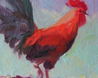 Red Rooster with aqua background small original oil painting affordable gift