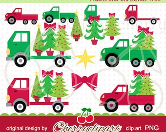 Trucks and Christmas Tree digital clipart for-Personal and Commercial Use-paper crafts,card making,scrapbooking,embroidery design