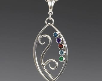 Mother's / Grandmother's Necklace. 5 Birthstones. Filigree Pendant. Sterling Silver. Lab-Created Gemstones.