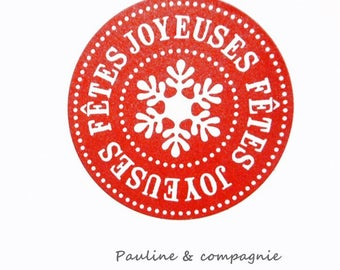 "Set of 25 round stickers printed ""happy holidays"" Red"