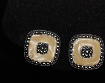 Incredible deco pearlized early lucite and rhinestone clip earrings