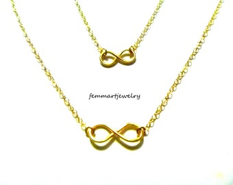14kt Gold Filled Infinity Necklace - Mother Daughter Necklace - Mommy Jewelry - Wedding - Bridesmaid Gift - Friendship - Best Friend