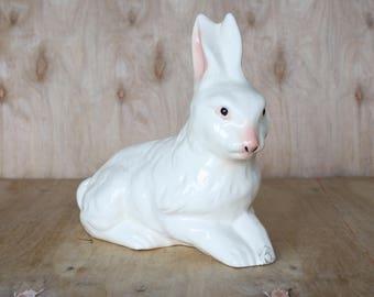 Ceramic White Rabbit Figurine/ Mid Century Ceramics/ Animal Statue/ Easter Bunny