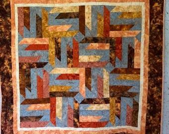 Batik Warm Colors Quilt, Quilts for Sale, Handmade Quilts, Quilts for Graduate, Quilts for Gifts