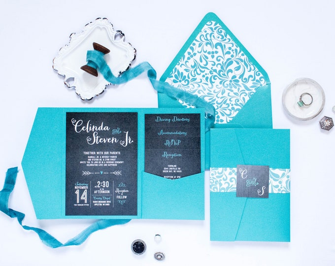 5x7 Chalk Board Pocket Wedding Invitation in Turquoise Teal with Announcement, RSVP, Accommodations, Reception, & Direction Inserts