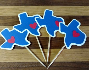 Blue Texas Cupcake Toppers, texas cupcake toppers, texas toppers, texas party, texas theme, texas birthday, texas party decor, texas state