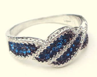 Blue Sapphire, Sterling Silver Ring, Vintage Ring