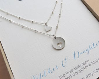 Mothers day gift, Mother daughter necklace, Mom birthday gift, sterling silver mother daughter jewelry, heart, keepsake, gift from daughter