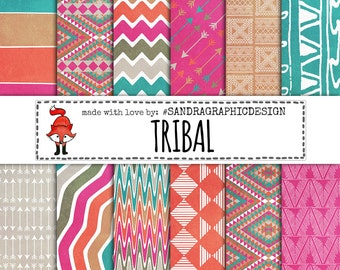 Tribal patterns digital paper, tribal pattern, tribal digital paper, purple digital paper, grunge digital paper, set with 24 files (1158)