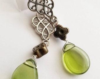 Olive green earrings, silver earrings, glass teardrops, silver scrolled earrings, flower earrings, green Czech glass, gifts for her,